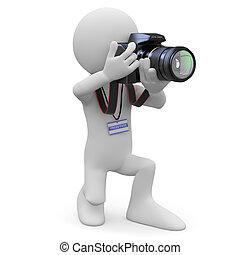 fotografo, suo, macchina fotografica, slr