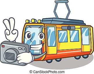 fotografo, treno elettrico, giocattoli, forma, mascotte