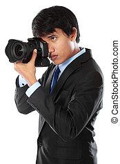 fotografo, usando, dslr, macchina fotografica