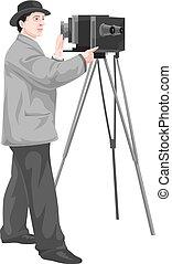 fotografo, vettore, macchina fotografica.