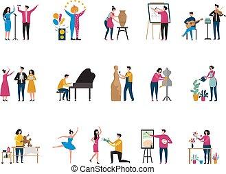 fotografowie, wektor, twórczy, sztuka, architekt, malarz, malarz, occupation., artyści, litery, hobby, tancerze, kwiaciarka, płaski