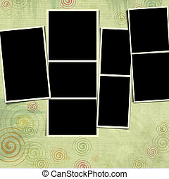 fotokader, op, plakboek