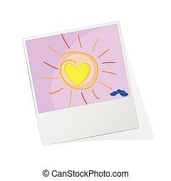 fotokader, vector, illustratie, zon