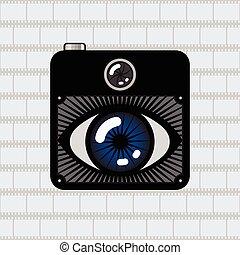 fotokamera, auge