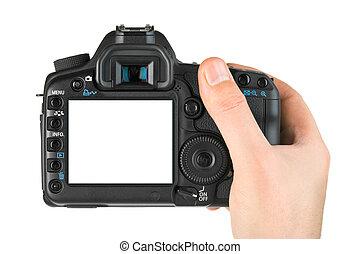 fotokamera, in, hand