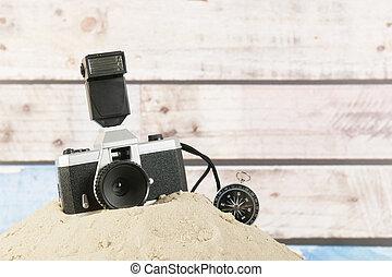 fotokamera, und, kompaß