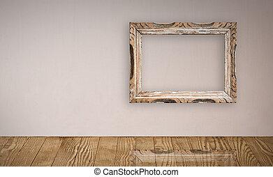 fotolijst, op, een, oud, muur