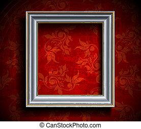 fotolijst, op, muur
