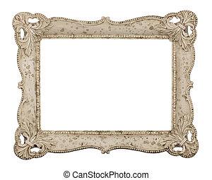 fotolijst, oud, ivory-colored