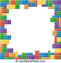 fotolijst, plein, gekleurde, blok