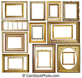 fotolijst, set, goud, ouderwetse