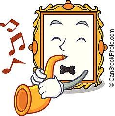 fotolijst, trompet, spotprent, mascotte