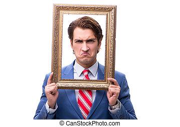 fotolijst, vrijstaand, elegant, zakenman, witte