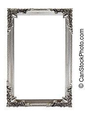 fotolijst, witte achtergrond, zilver
