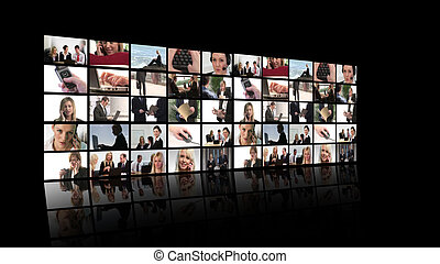 fotomontaggio, affari, persone lavorare