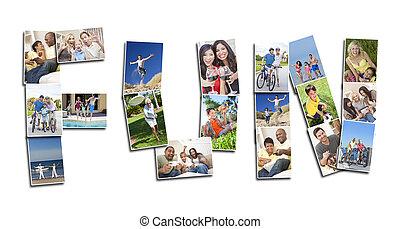 fotomontaggio, attivo, divertimento, detenere, persone