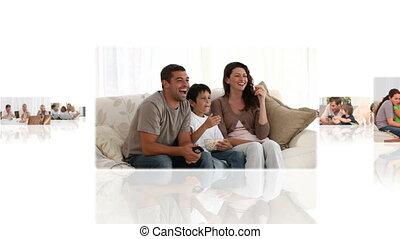 fotomontaggio, bambini, loro, genitori, divertimento, casa,...
