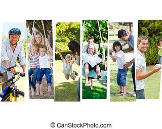 fotomontaggio, bambini, loro, genitori, divertimento,...