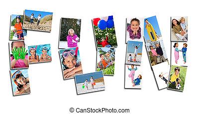 fotomontaggio, detenere, giovani bambini, attivo, divertimento, gioco