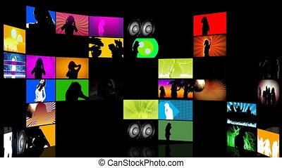 fotomontaggio, di, adolescenti, ballo