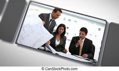 fotomontaggio, di, affari, lavoro squadra