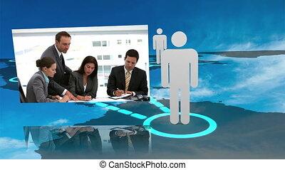 fotomontaggio, di, affari, relazione, intorno