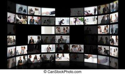 fotomontaggio, di, affari, situazioni