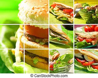 fotomontaggio, di, cibo spuntino
