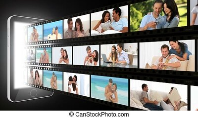 fotomontaggio, di, couples