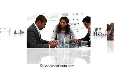 fotomontaggio, di, differente, affari, situazioni