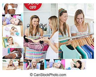 fotomontaggio, di, donne, fare, shopping