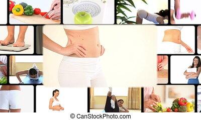 fotomontaggio, di, donne, mettere dieta