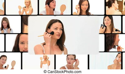 fotomontaggio, di, donne, mettere, truccare