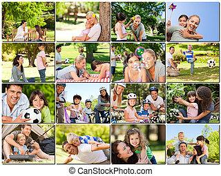 fotomontaggio, di, giovani adulti, divertimento, con, loro,...