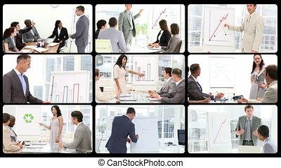 fotomontaggio, di, managers, fare, presentat