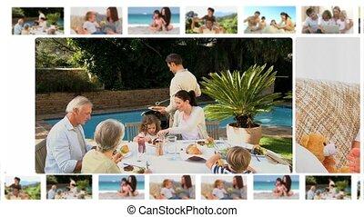 fotomontaggio, di, membri famiglia, condivisione, m