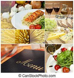 fotomontaggio, di, menu ristorante, cibo bibita