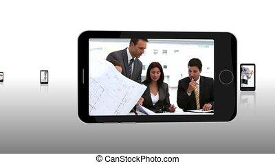 fotomontaggio, di, persone affari, exchangi