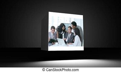 fotomontaggio, di, persone affari, in, il, o