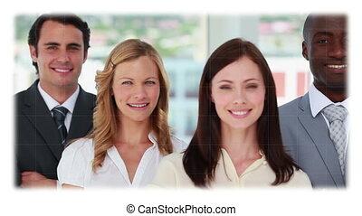 fotomontaggio, di, persone affari, in, vario