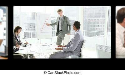fotomontaggio, di, persone affari, parlare