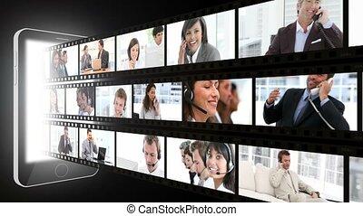 fotomontaggio, di, persone affari, su, il, p