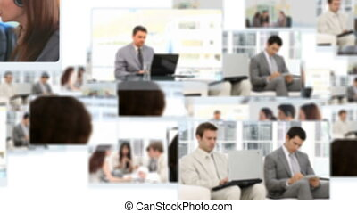 fotomontaggio, di, persone, lavorativo