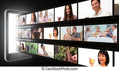 fotomontaggio, di, persone, vino beve
