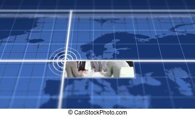 fotomontaggio, di, riunioni affari