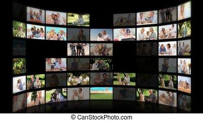 fotomontaggio, di, seniors, in, differente, sedere