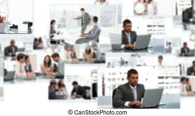 fotomontaggio, di, squadre affari