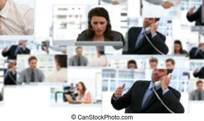 fotomontaggio, di, uomini affari, lavorativo