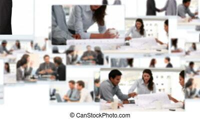 fotomontaggio, di, uomini affari, parlare