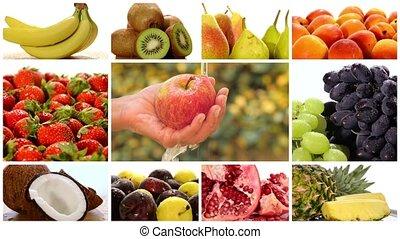fotomontaggio, diverso, frutte